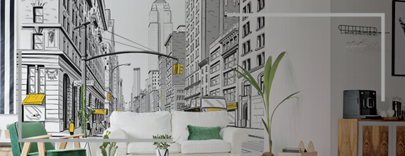 banner papel mural new york