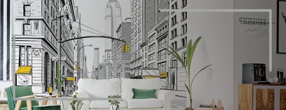 banner papel mural new york
