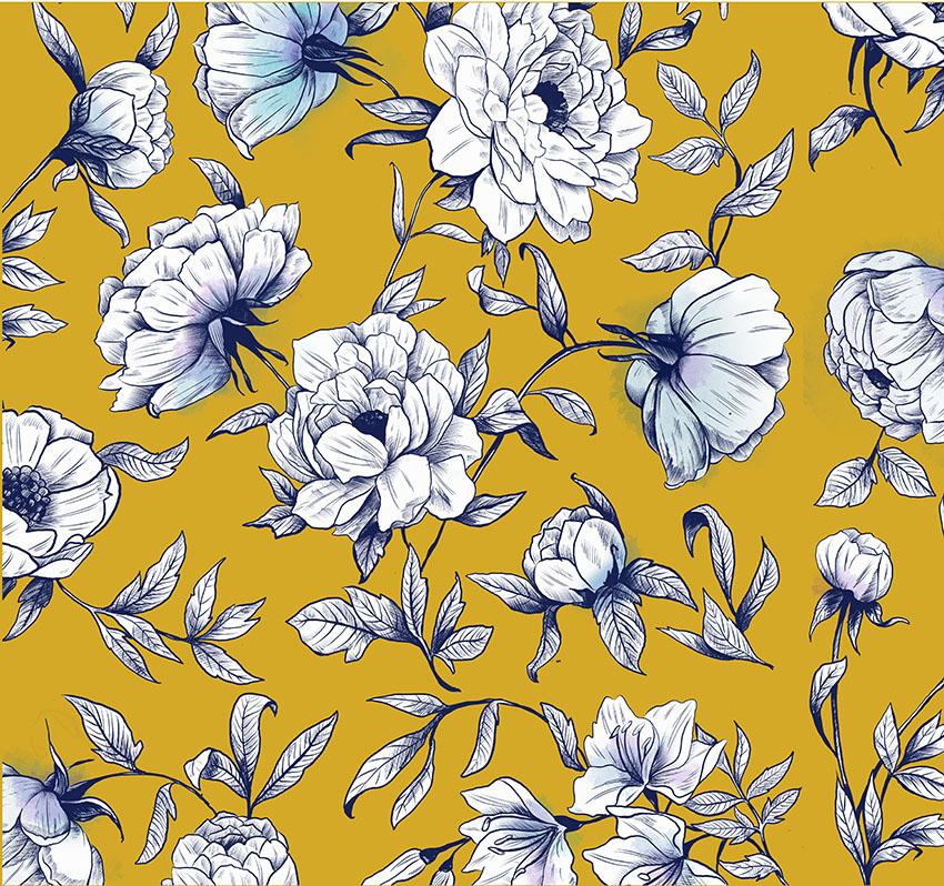Dibujo Flores Garabato Mural